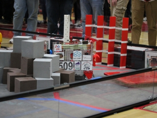FIRST FTC Team #8509 The Steel Serpents operating their mostly 3D printed robot on the field.
